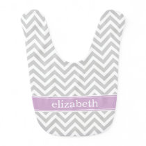 Gray and Purple Chevron Monogram Bib