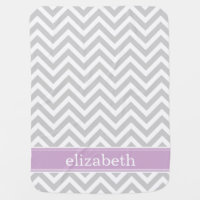 Gray and Purple Chevron Monogram Swaddle Blanket