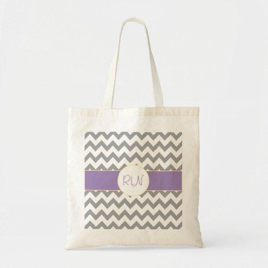 Gray and Purple Chevron Striped Monogram Tote Bag