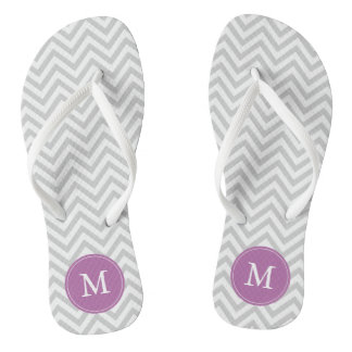 Gray and Purple Chevrons Monogrammed Flip Flops