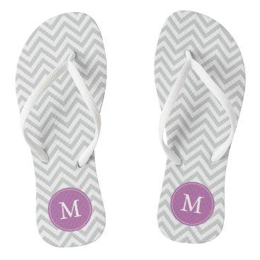 heartlocked Gray and Purple Chevrons Monogrammed Flip Flops