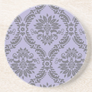 gray and purple damask drink coaster