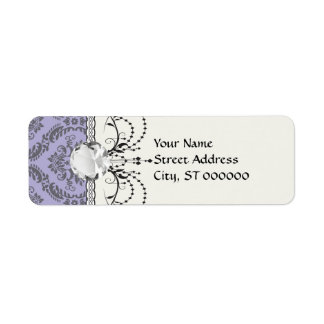 gray and purple damask label