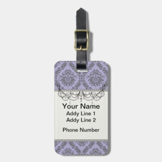 gray and purple damask tag for luggage