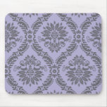 gray and purple damask mouse pad