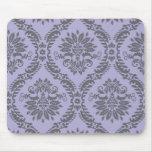 gray and purple damask mousepad