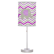 Gray and Purple Elephants Table Lamp