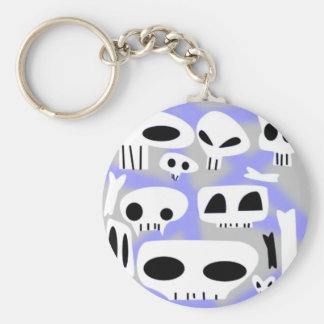 Gray and Purple Emo Skulls and Bones Keychain