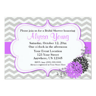 Gray and Purple Lilac Chevron Invitation