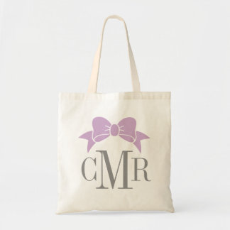 Gray and Purple Preppy Bow Monogram Tote Bag