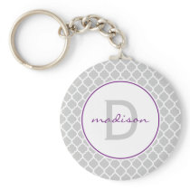 Gray and Purple Quatrefoil Monogram Keychain