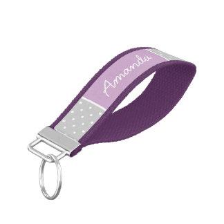 Gray and Purple Tiny Dots Monogram Wrist Keychain