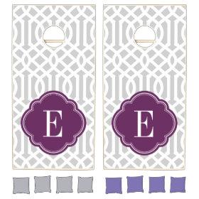 Gray and Purple Trellis Monogram Cornhole Sets