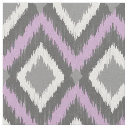 Gray and Purple Tribal Ikat Chevron Fabric