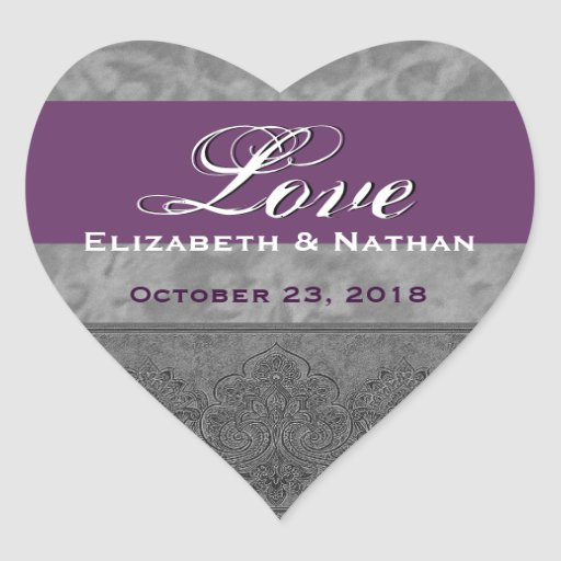 Gray and Purple Wedding Damask Heart Sticker