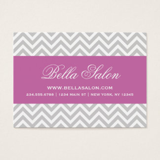 Gray and Radiant Orchid Chevron Stripes Business Card