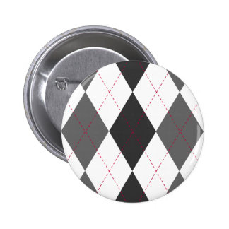 Gray and Red Argyle Button