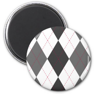 Gray and Red Argyle Magnet Refrigerator Magnet