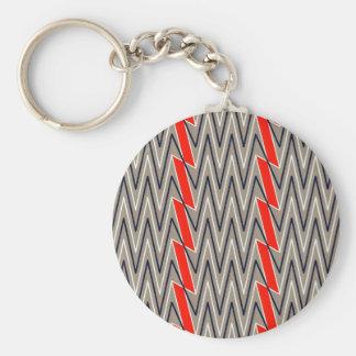Gray and red chevron design keychain