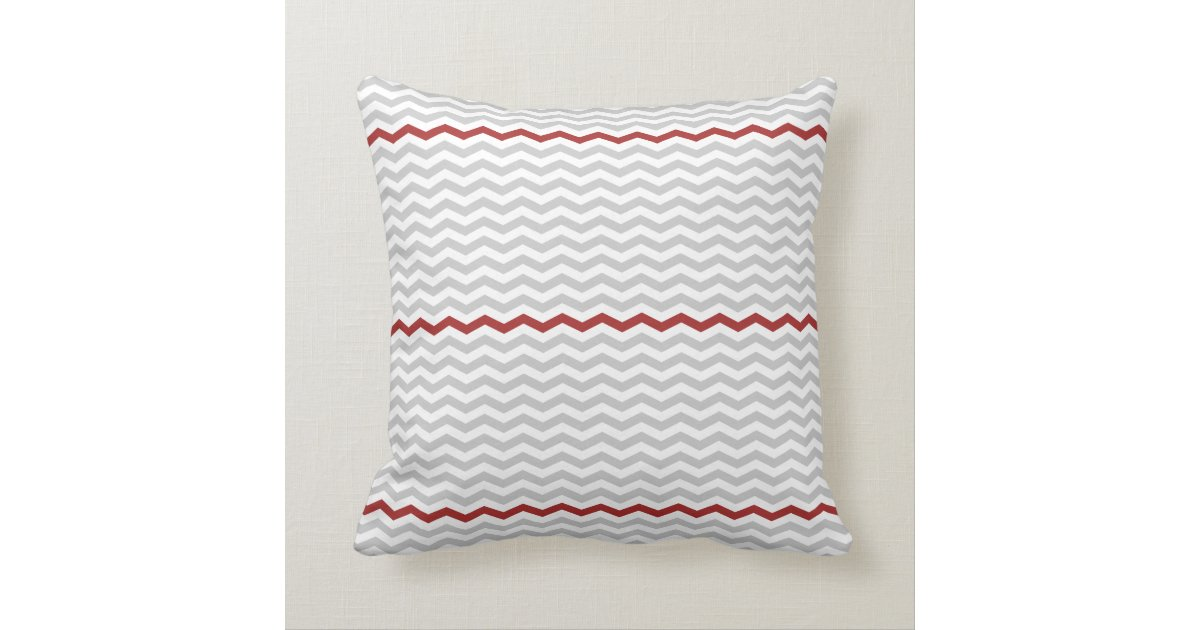 Gray and Red Chevron Throw Pillow Zazzle