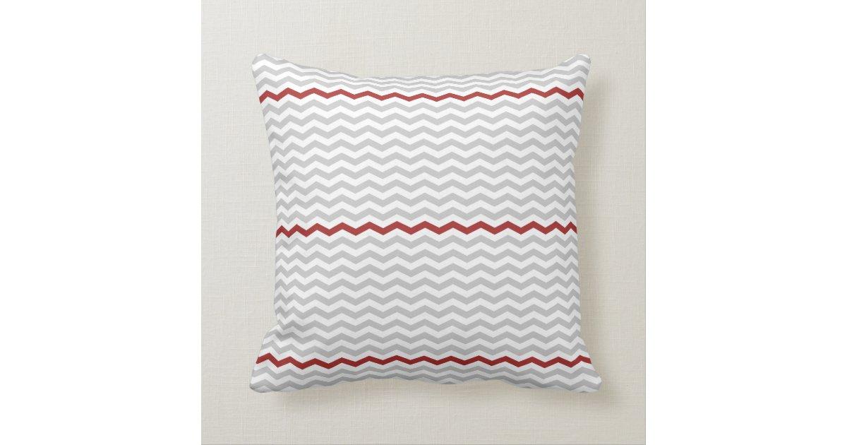 Throw Pillows Girly : Gray and Red Chevron Throw Pillow Zazzle