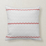 Gray and Red Chevron Throw Pillow