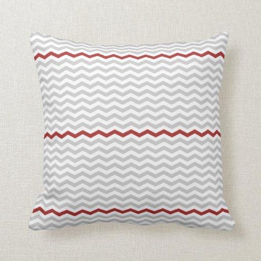 Grey Chevron Throw Pillow : Gray and Red Chevron Throw Pillow Zazzle