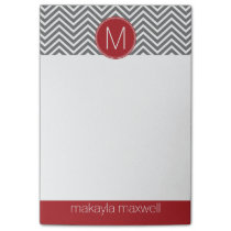 Gray and Red Chevrons with Custom Monogram Post-it Notes