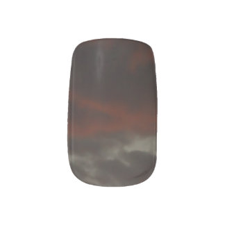 Gray and Red Cloudy Sky Minx® Nail Wraps