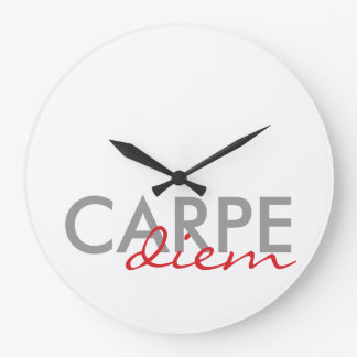 Gray and Red Custom Latin Quotes Carpe Diem Round Wall Clock