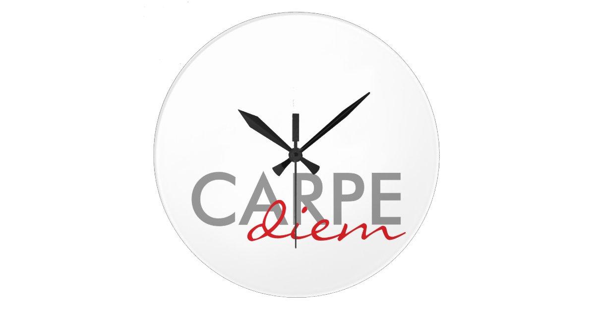Latin Quotes | Gray And Red Custom Latin Quotes Carpe Diem Large Clock Zazzle Com