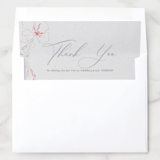 Gray and red elegant flowers thank you typography envelope liner