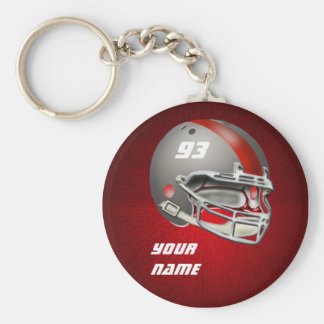 Gray and Red Football Helmet Basic Round Button Keychain