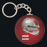 """Gray and Red Football Helmet Keychain<br><div class=""""desc"""">Customizable gray and red football helmet.  Add your team&#39;s logo,  name,  player name and/or number.  Makes a great gift for football players,  coaches,  fans,  fantasy league players or any fan of  football.</div>"""