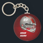 "Gray and Red Football Helmet Keychain<br><div class=""desc"">Customizable gray and red football helmet.  Add your team&#39;s logo,  name,  player name and/or number.  Makes a great gift for football players,  coaches,  fans,  fantasy league players or any fan of  football.</div>"