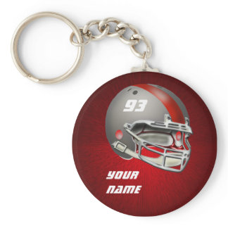 Gray and Red Football Helmet Keychain