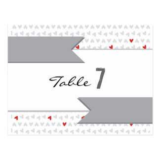 gray and red little hearts pattern table card