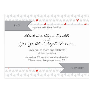 gray and red little hearts pattern wedding invite postcard