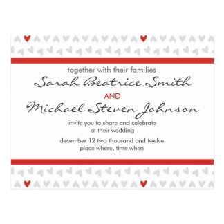 gray and red little hearts wedding invite postcard