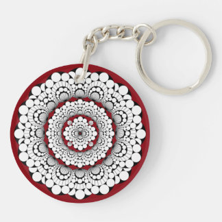 Gray and Red Medallion Design Keychain