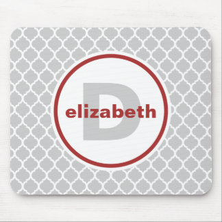 Gray and Red Quatrefoil Monogram Mouse Pad