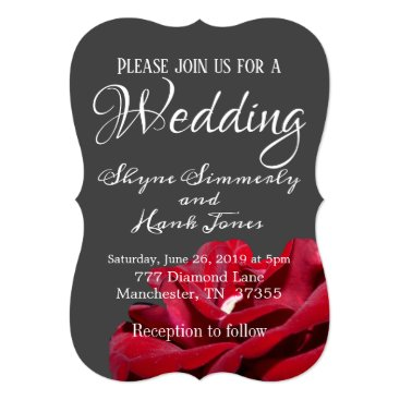 Wedding Themed Gray and Rose wedding invitation