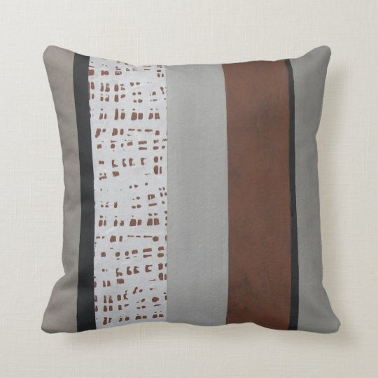 Gray and rust modern pattern throw pillow Zazzle
