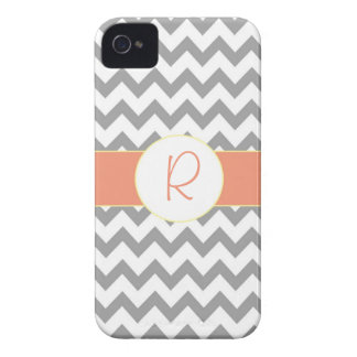 Gray and Salmon Chevron Striped Monogram Case-Mate iPhone 4 Case