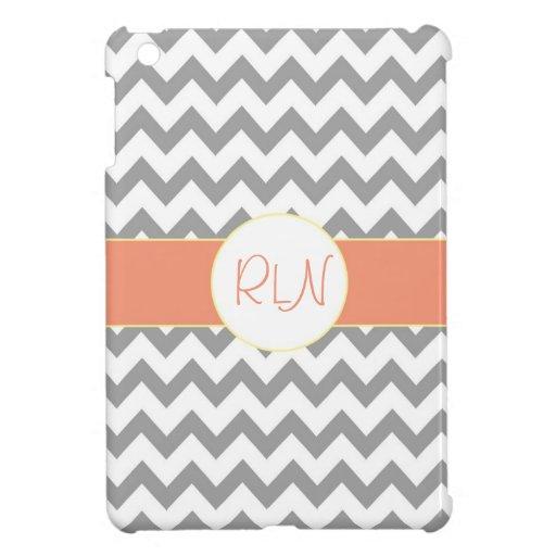 Gray and Salmon Chevron Striped Monogram iPad Mini Covers