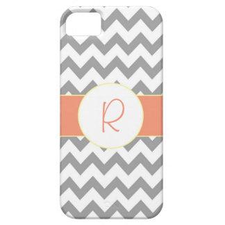 Gray and Salmon Chevron Striped Monogram iPhone SE/5/5s Case