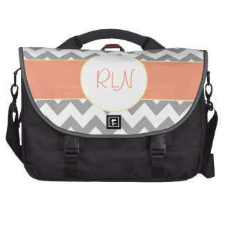 Gray and Salmon Chevron Striped Monogram Laptop Messenger Bag