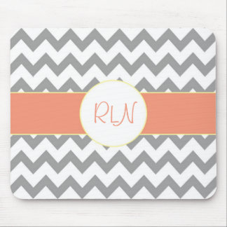 Gray and Salmon Chevron Striped Monogram Mouse Pad