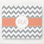 Gray and Salmon Chevron Striped Monogram Mouse Pads