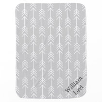 Gray and Seafoam Arrows Monogram Receiving Blanket